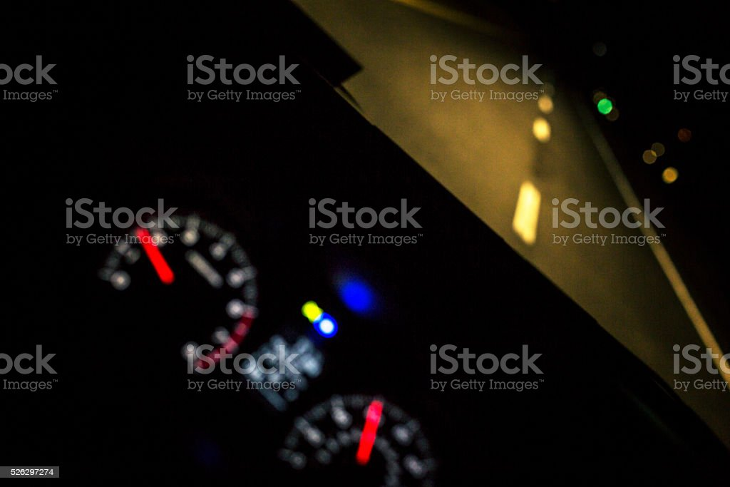 Night Driving Speeding Car Dashboard Digital Display Gauges stock photo