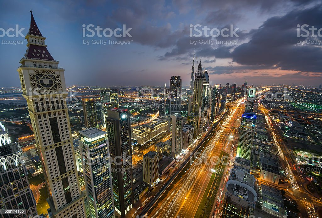 Night Dubai panorama. Sheikh Zayed Road skyscrapers. stock photo