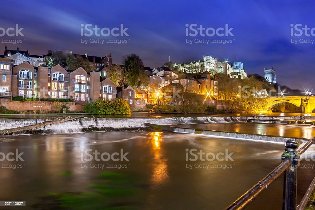 Night Durham Cathedral River Wear.jpg stock photo