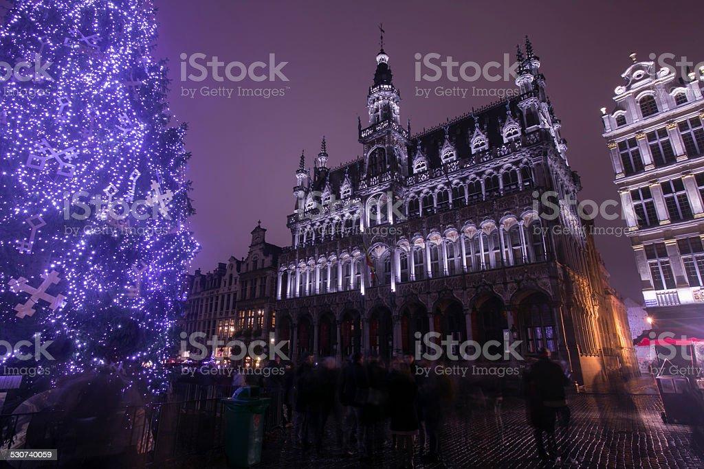 night during light show famous cityhall of brussel belgium stock photo