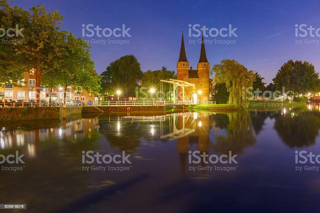 Night Eastern Gate, Oostpoort , Delft, Netherlands stock photo
