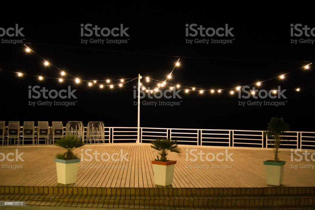 Night empty cafe or restaurant scene stock photo