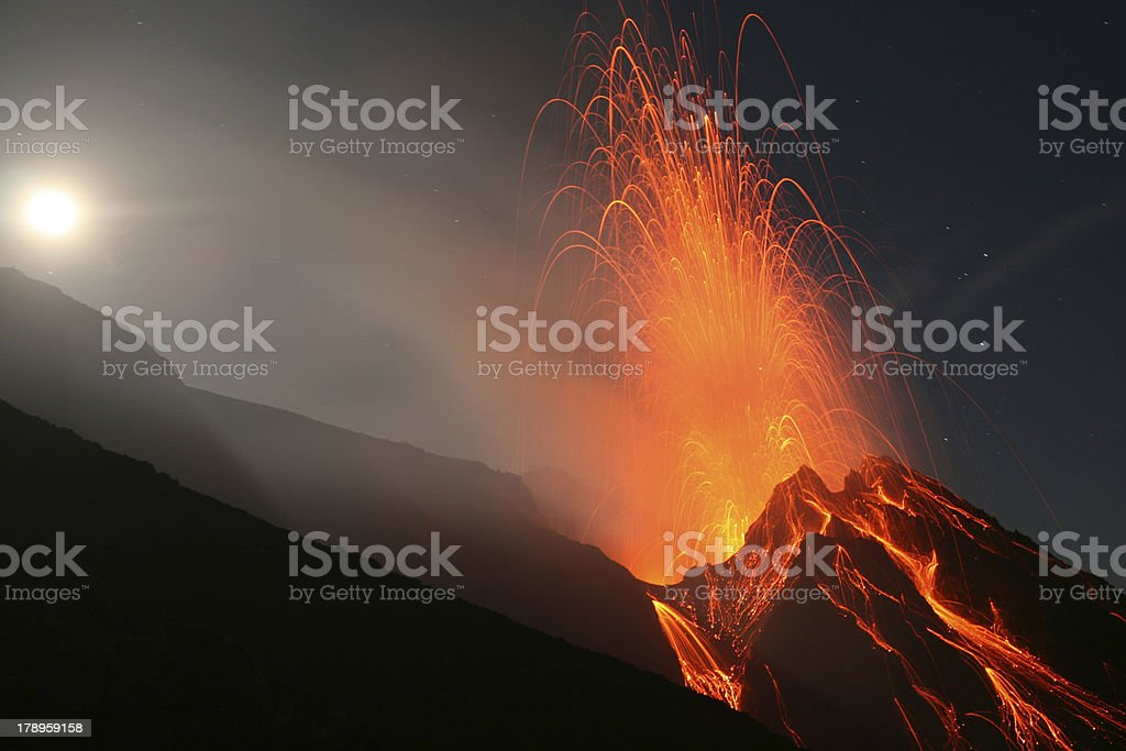 Night eruption at Stromboli volcano stock photo