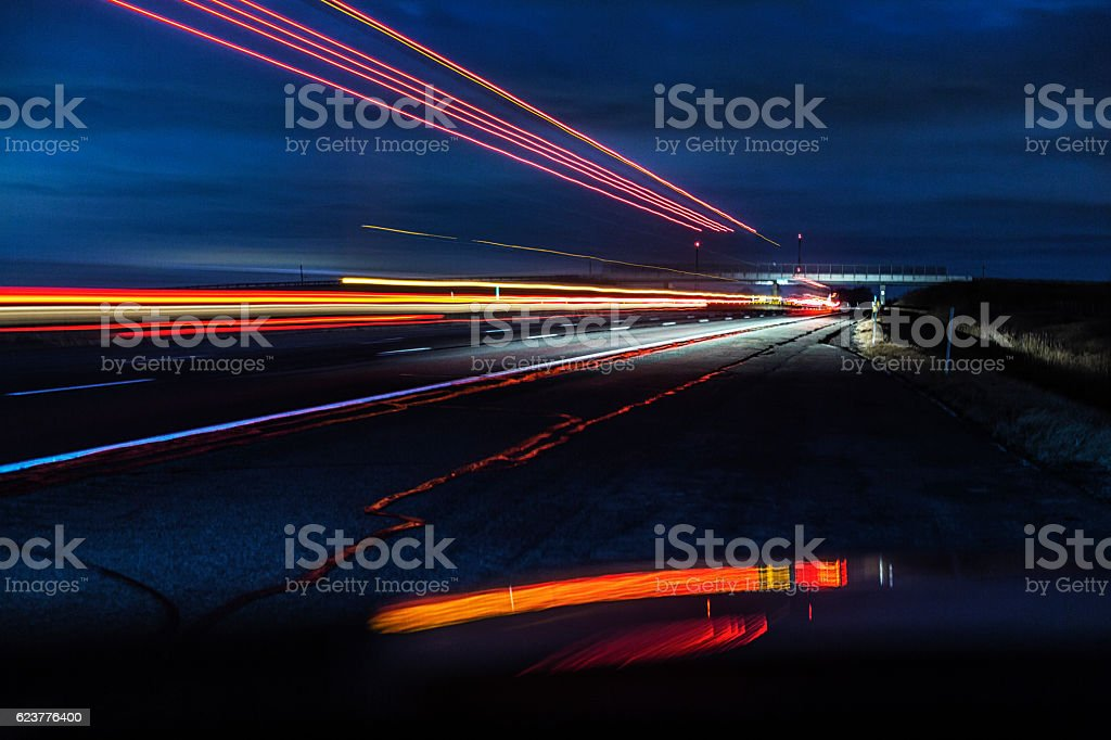 Night Expressway Abstract Speeding Semi Trailer Truck stock photo