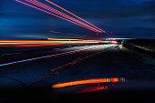 Night Expressway Abstract Speeding Semi Trailer Truck