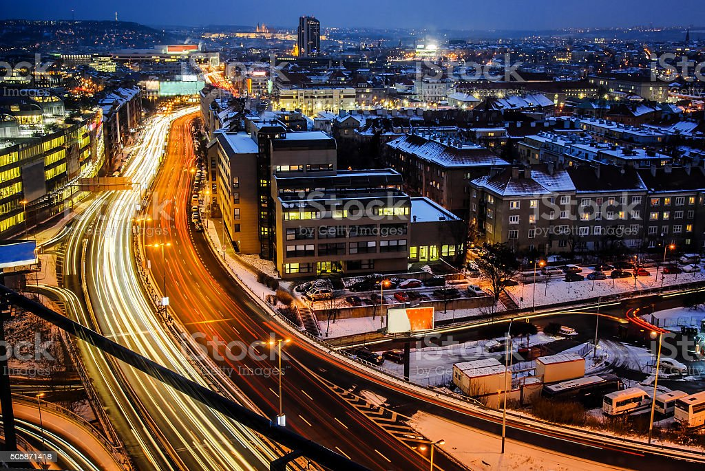 Night expressway in the city. Prague from birds perspective stock photo
