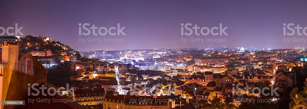 Night extra-wide panoramic shot of Lisbon royalty-free stock photo