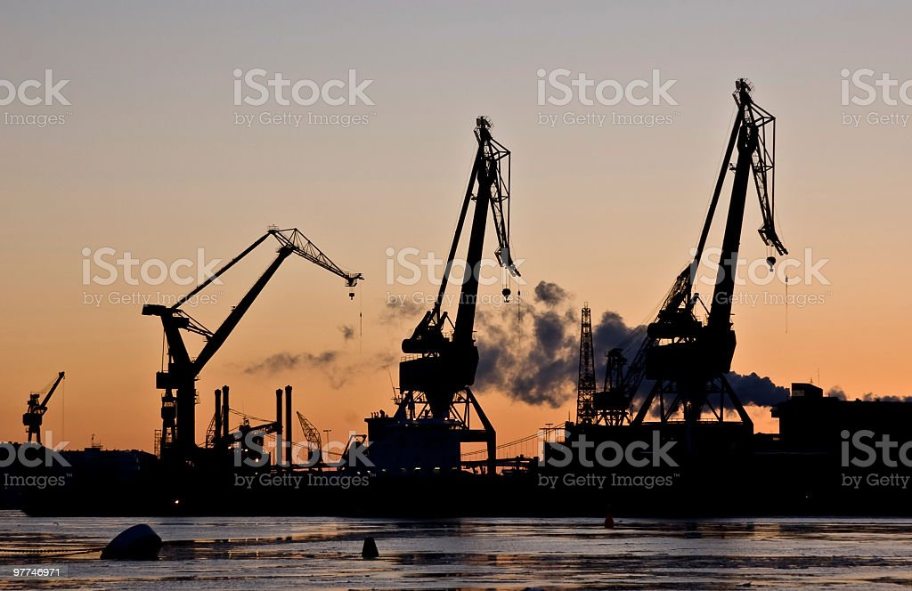 Night falls at the harbour stock photo