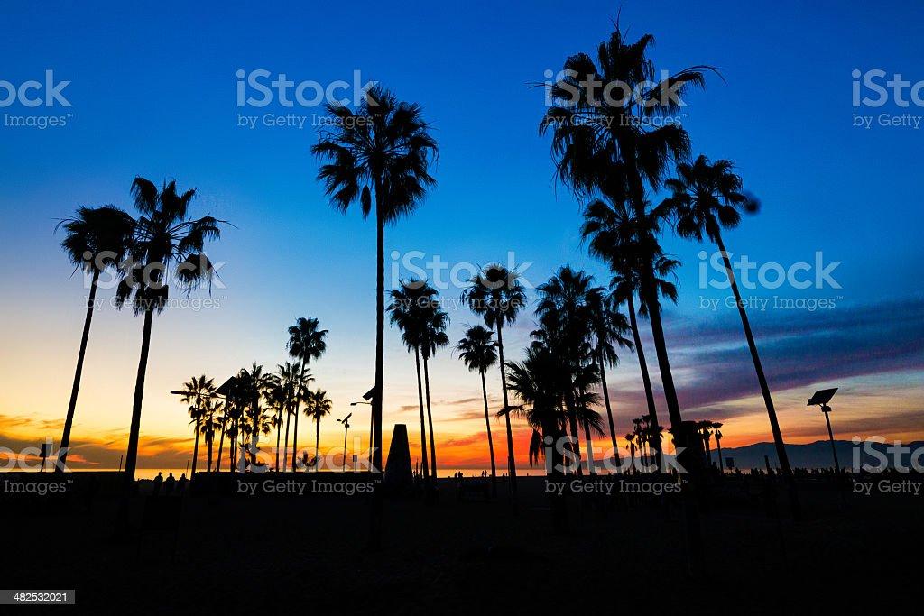 Night falls on the beach stock photo
