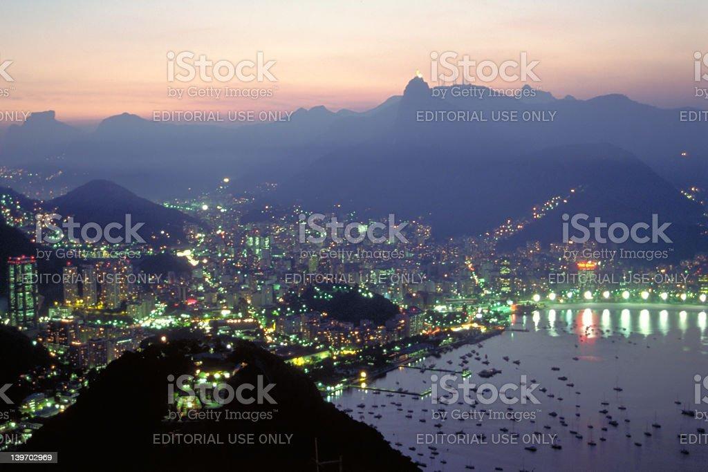 Night Falls over Rio de Janeiro, Brazil royalty-free stock photo