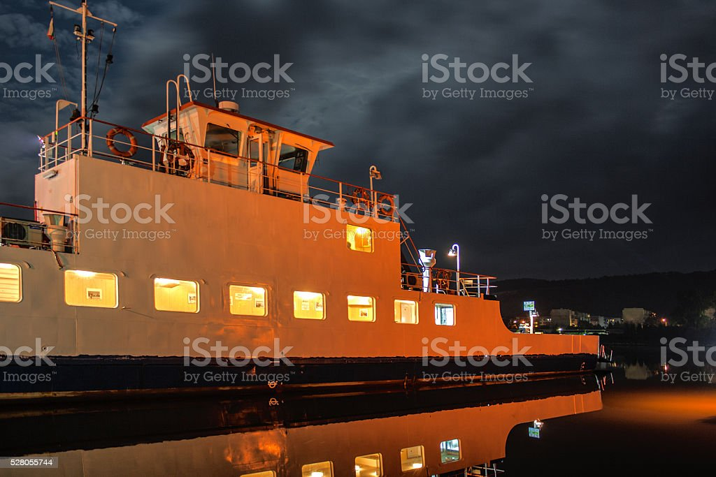 night ferry stock photo