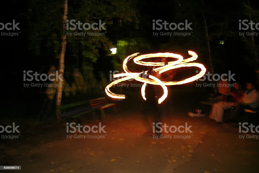 night fire pictures by man stock photo