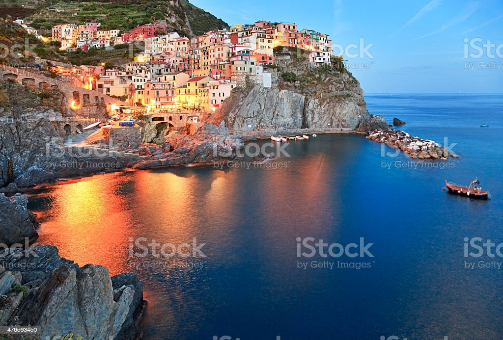 Night fishing village Manarola, Cinque Terre, Italy stock photo