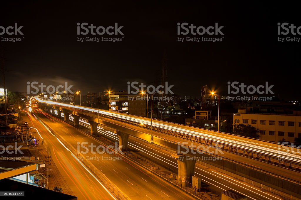 Night Flyover In Bangalore stock photo
