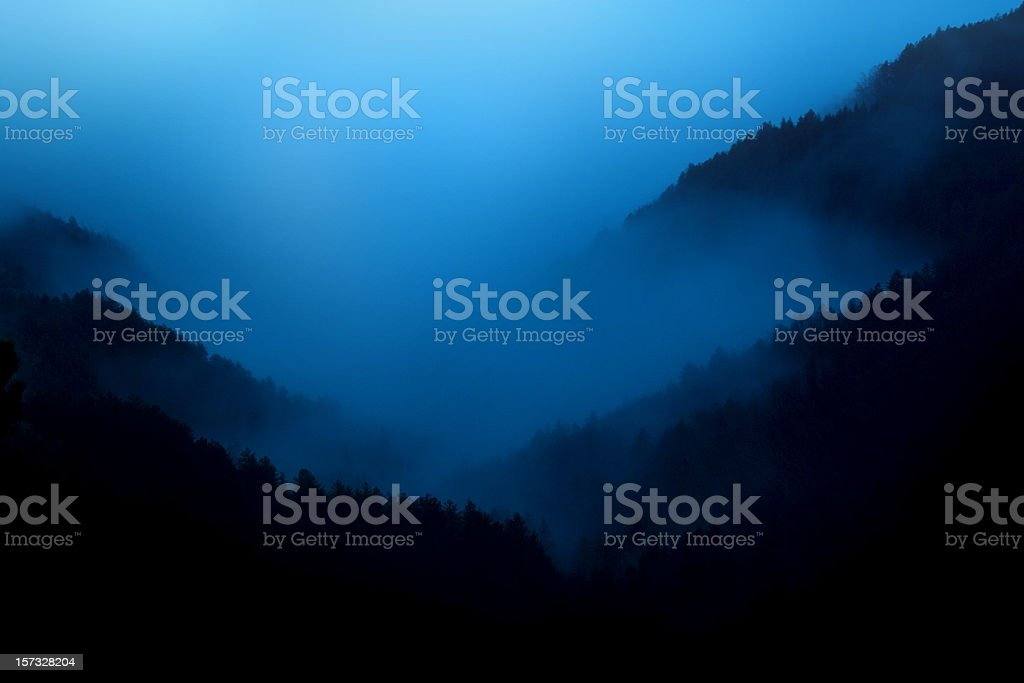 Night fog stock photo