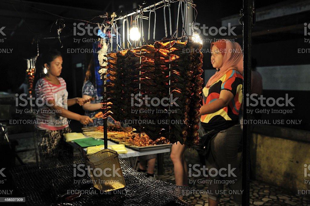 Night food market at Kota Kinabalu, Malaysia royalty-free stock photo