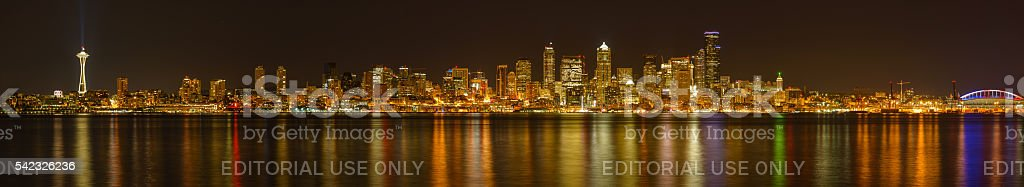 Night Full View of Seattle Downtown Skyline stock photo