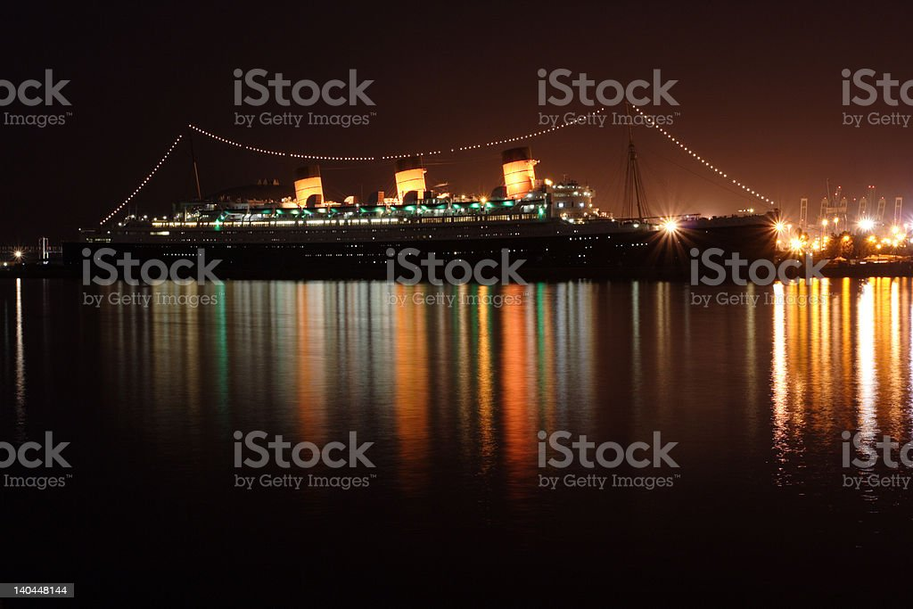 NIght glow at Queen Mary stock photo