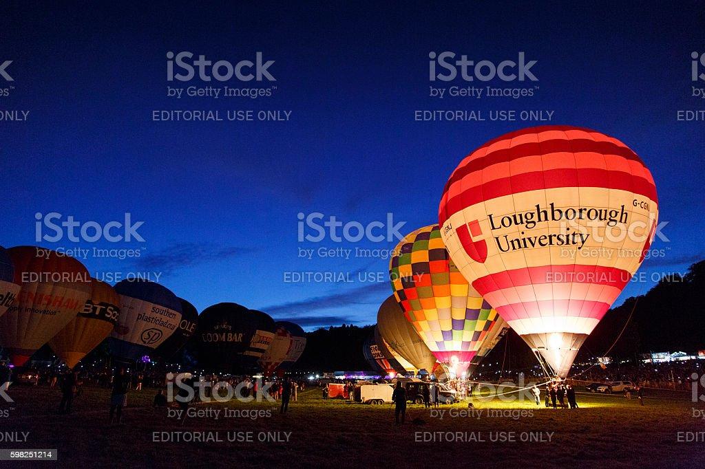 Night Glow at the Bristol Balloon Fiesta stock photo