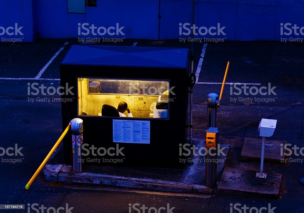 Night guard booth , staffed, with entry gate, closed stock photo