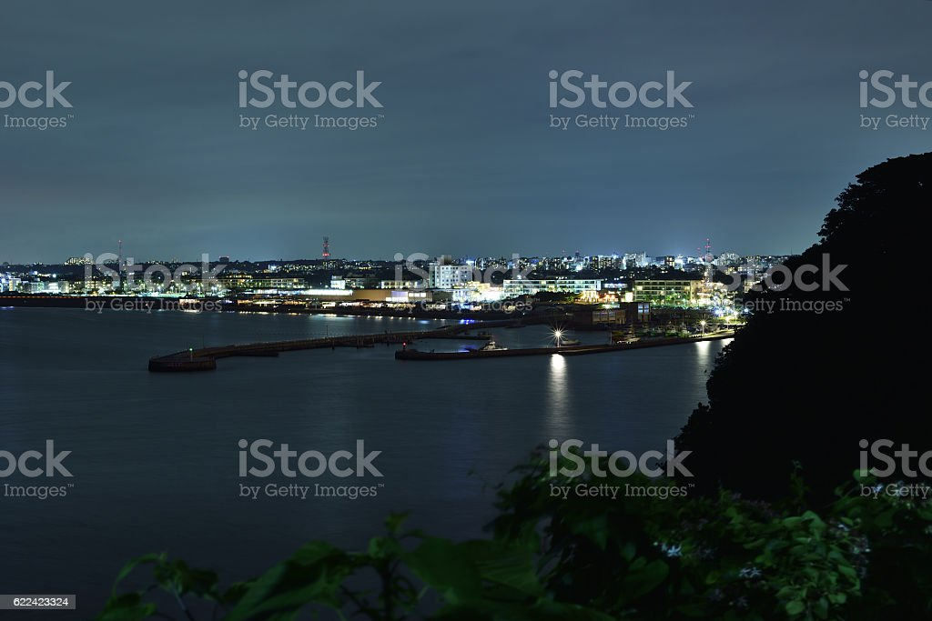 Night harbor in the sea of west Enoshima stock photo