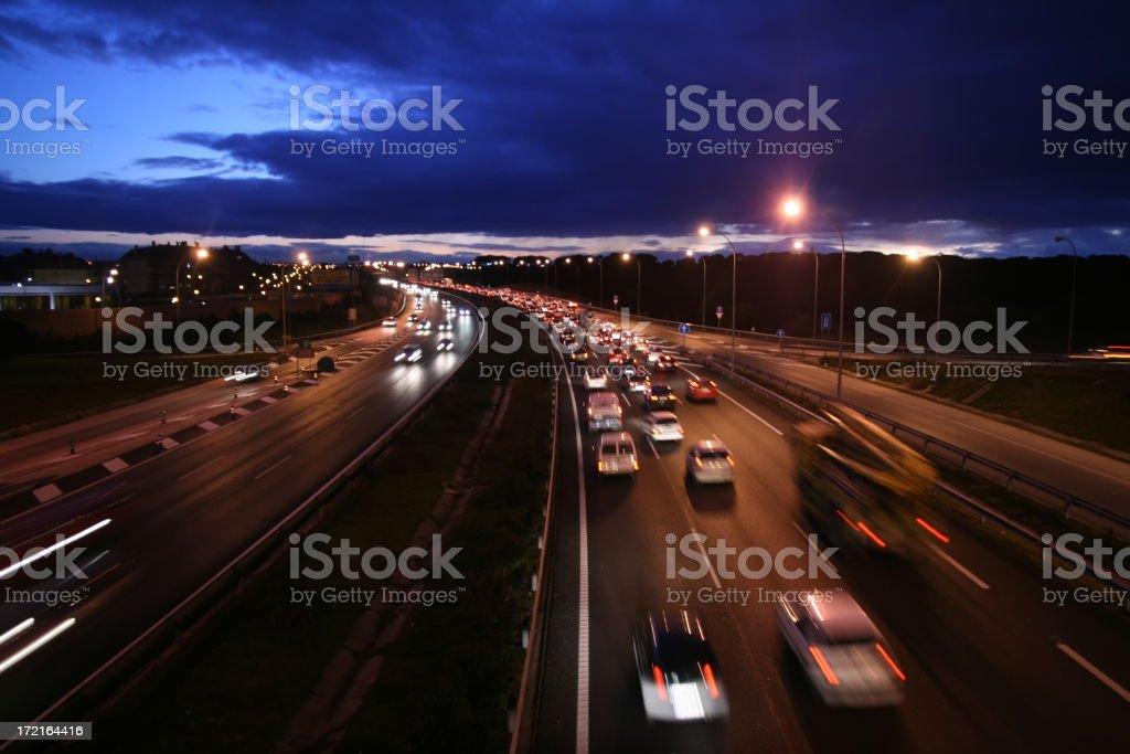 Night Highway. Autopista nocturna. Madrid M-40 stock photo