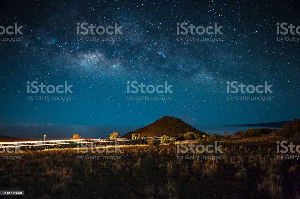 Night Highway Scene Above the Clouds stock photo