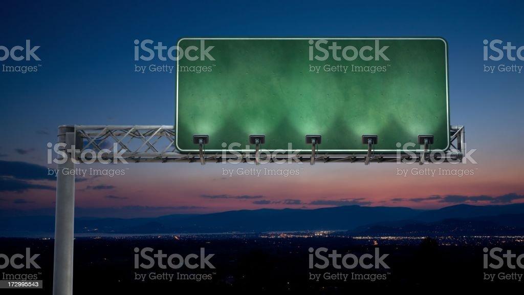 Night highway sign stock photo