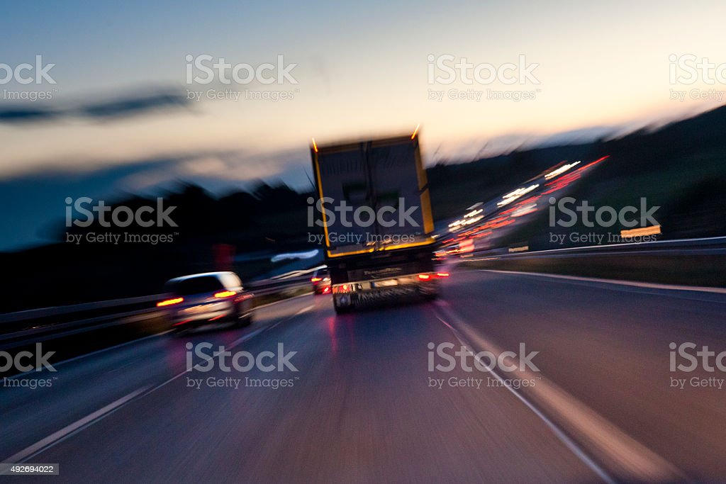 night highway traffic stock photo