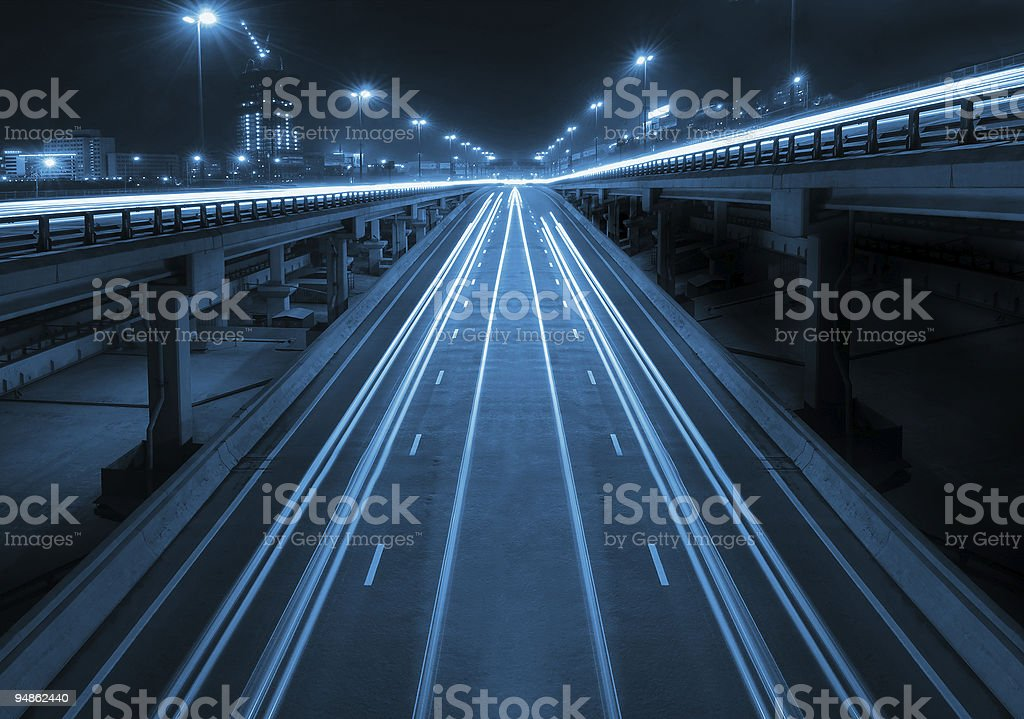 Night highway with viaducts royalty-free stock photo