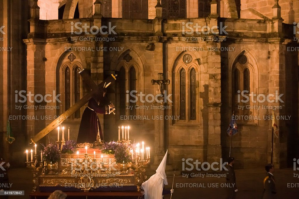 Night Holy Week parade, Lugo cathedral. stock photo