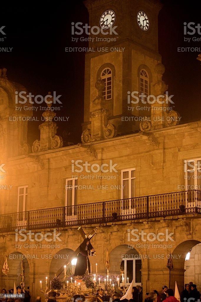 Night Holy Week parade, Lugo townhall. stock photo