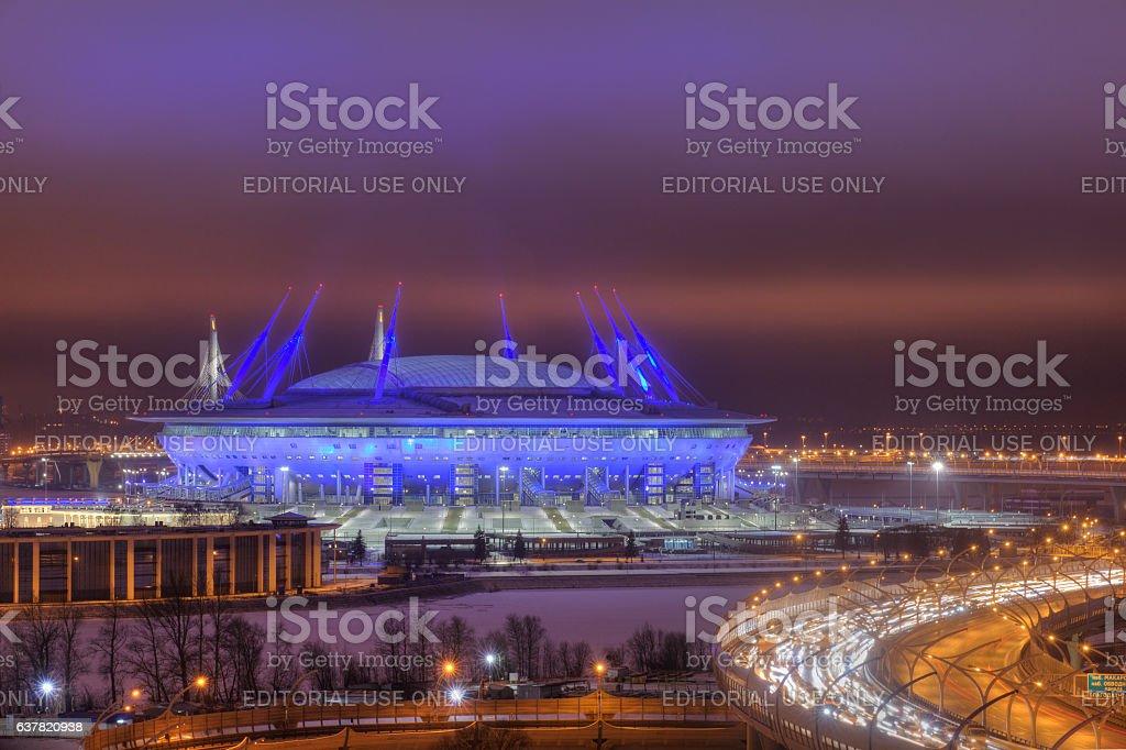 Night illumination, 2018 World Cup stadium in St. Petersburg, Russia. stock photo