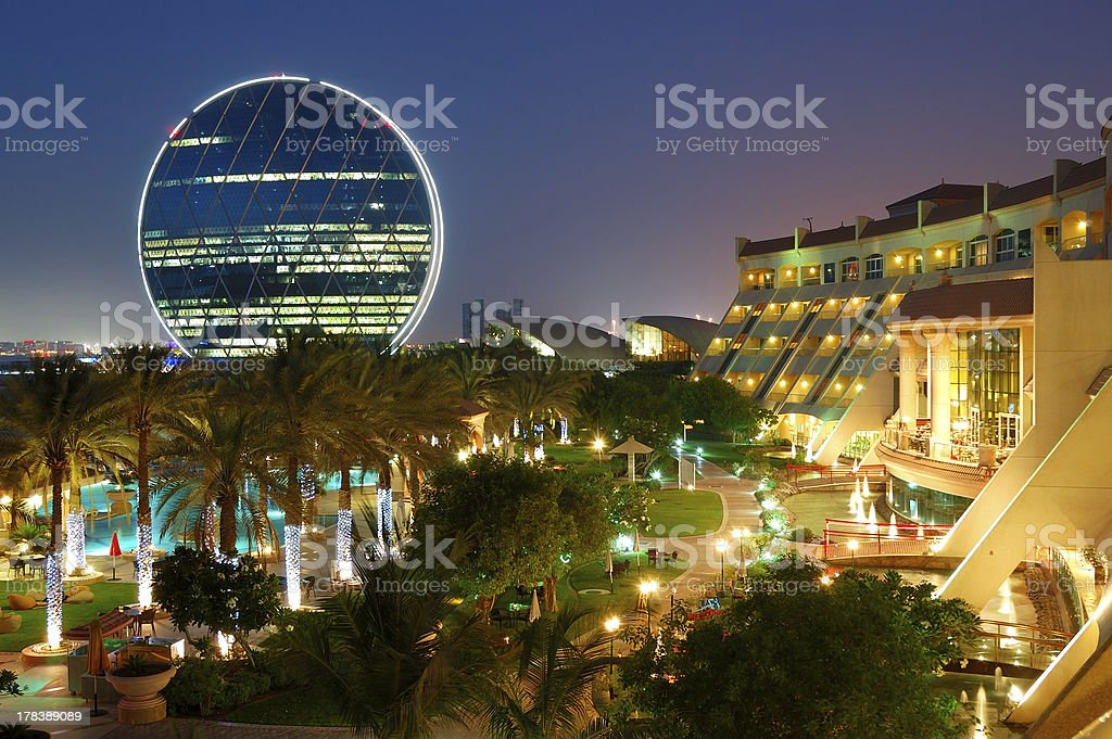 Night illumination in the luxury hotel royalty-free stock photo