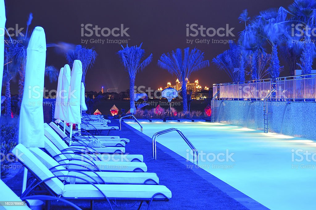 Night illumination of the modern luxury hotel royalty-free stock photo