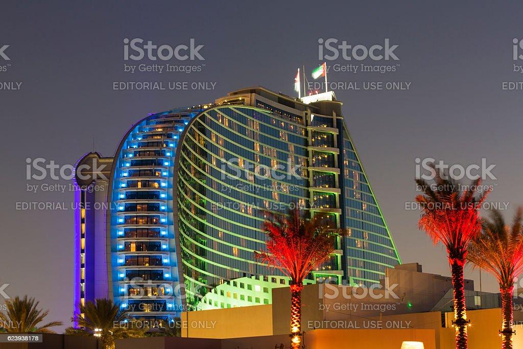 Night illuminations of the modern luxury hotel, Dubai stock photo