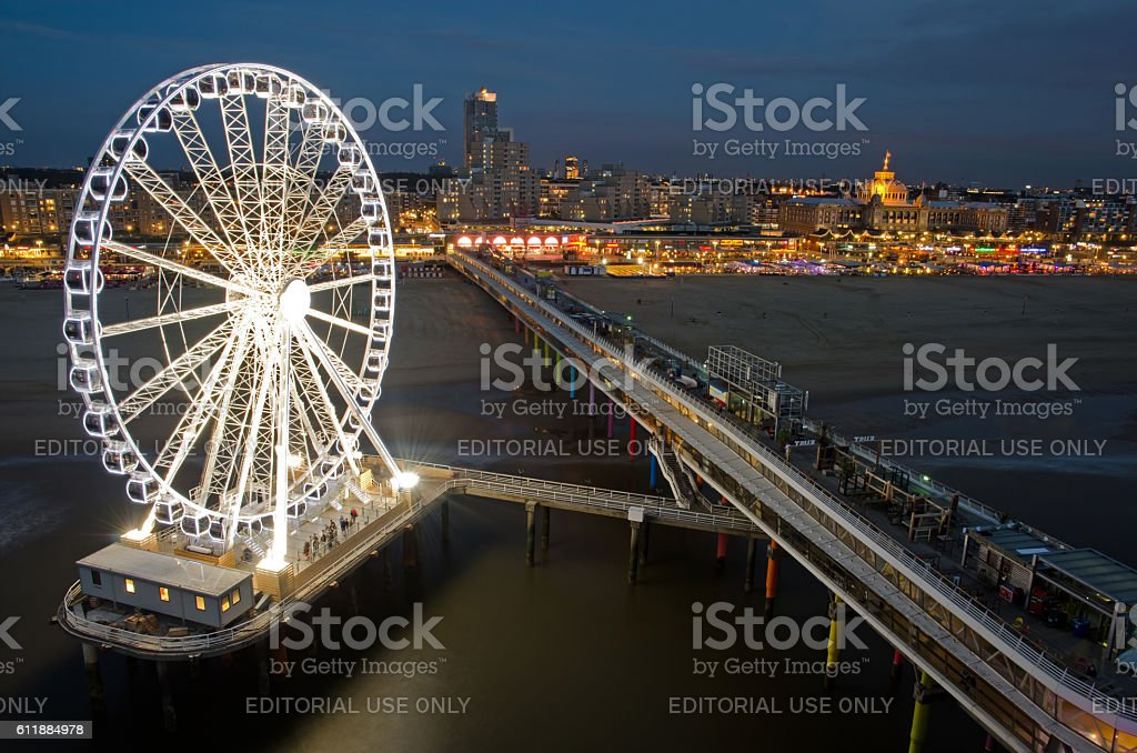 Night image Ferris wheel Scheveningen stock photo