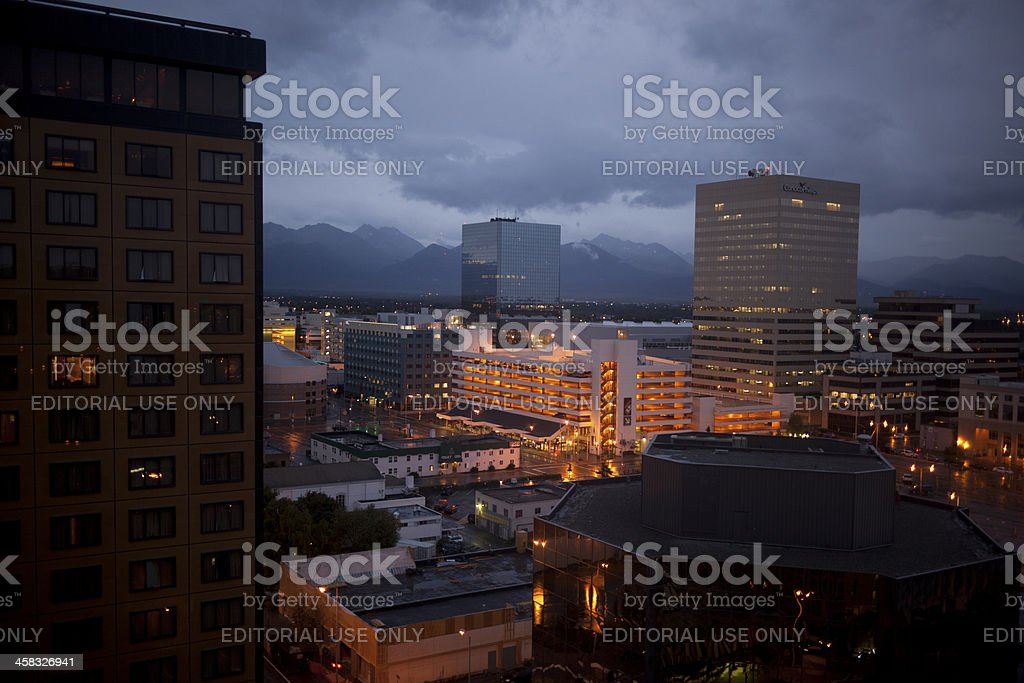 Night Image of Downtown Anchorage Alaska stock photo