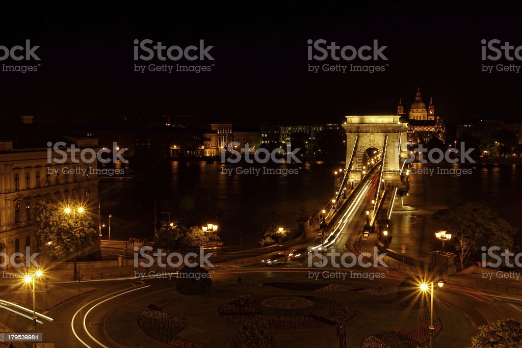 Night image of the hungarian chain Bridge royalty-free stock photo