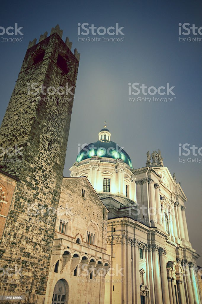 Night in Brescia, Italy stock photo