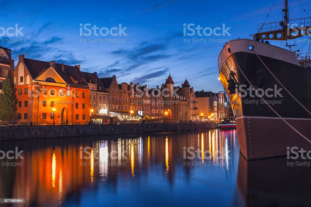 Night in Gdansk, Poland stock photo
