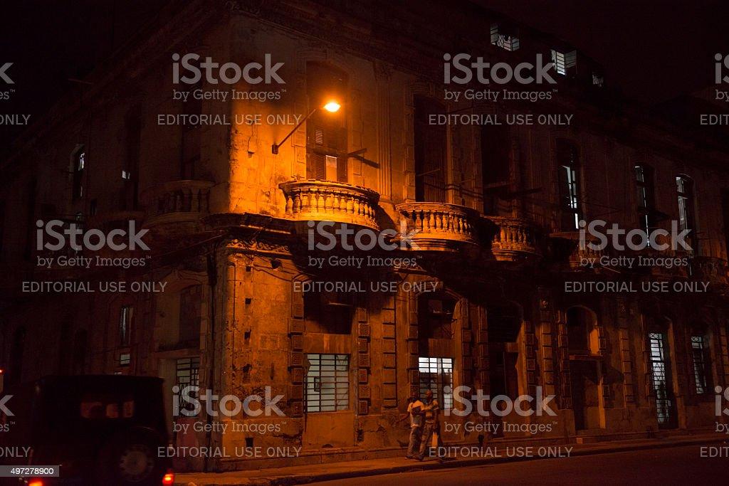 Night in Havana, Cuba stock photo