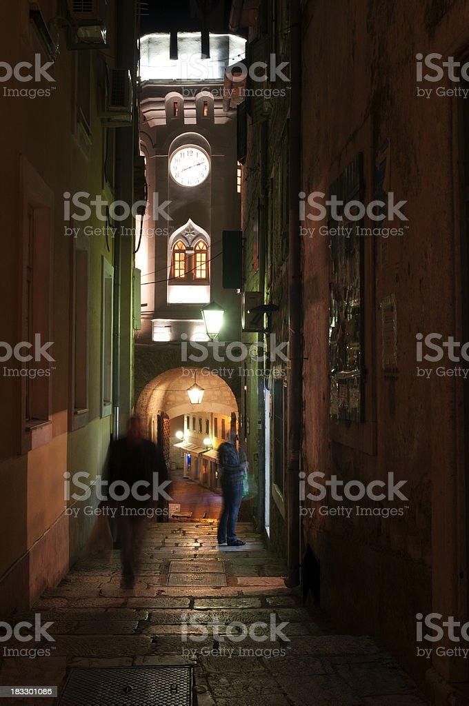 Notte a Herceg Novi foto stock royalty-free