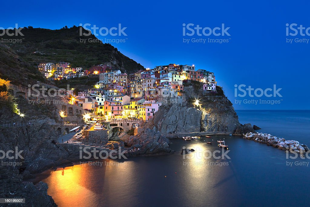 Night in Manarola stock photo