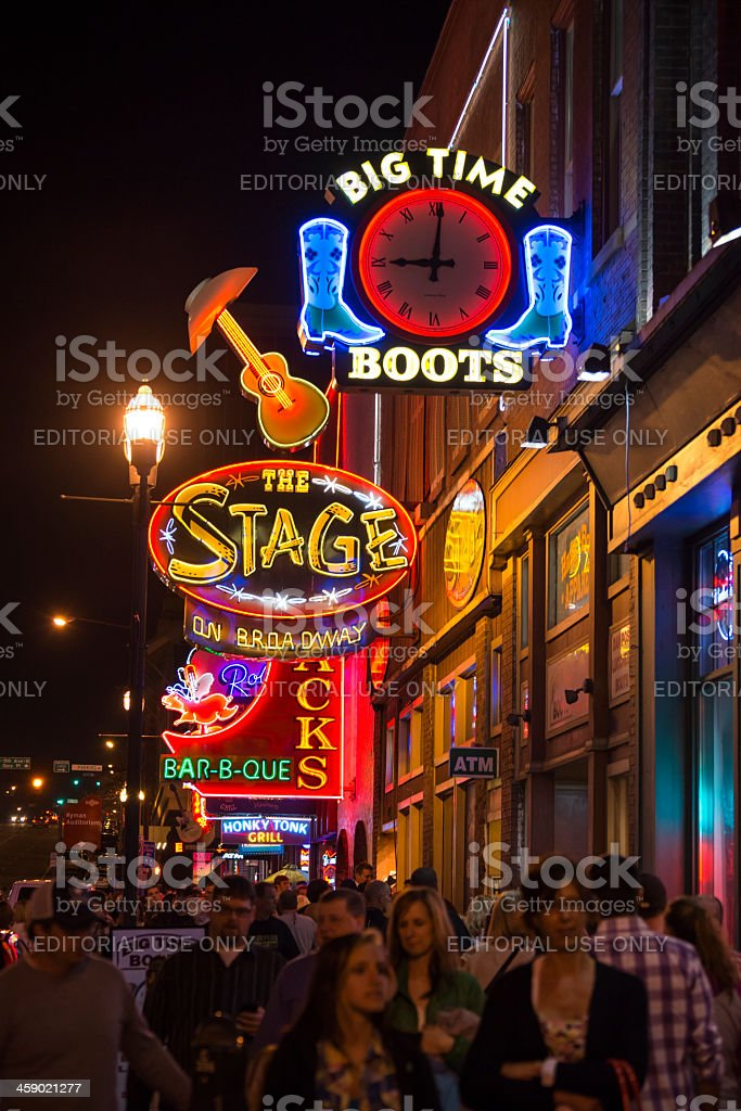 Night in neon lights of Broadway in Nashville Tennessee royalty-free stock photo