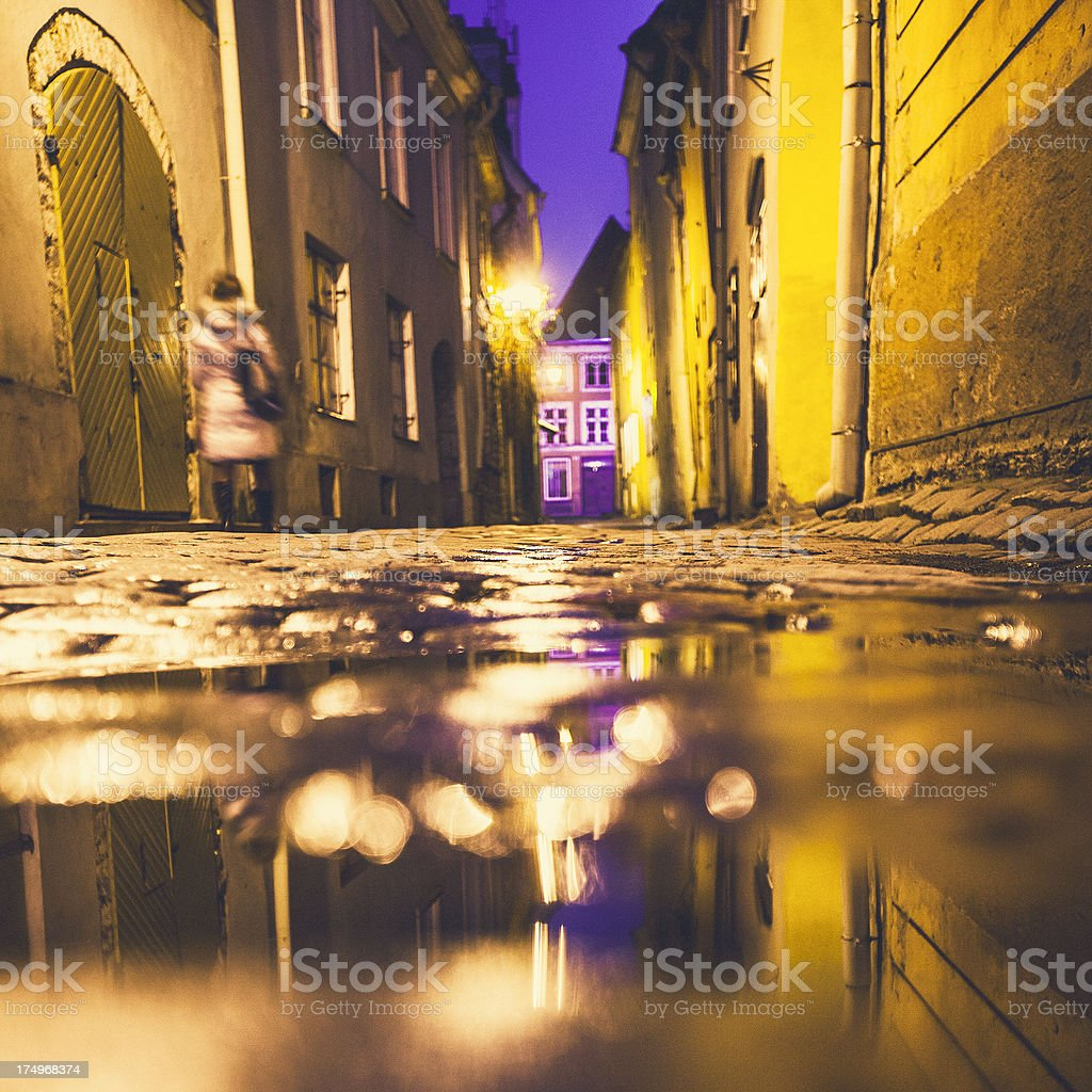 Night in old town. royalty-free stock photo