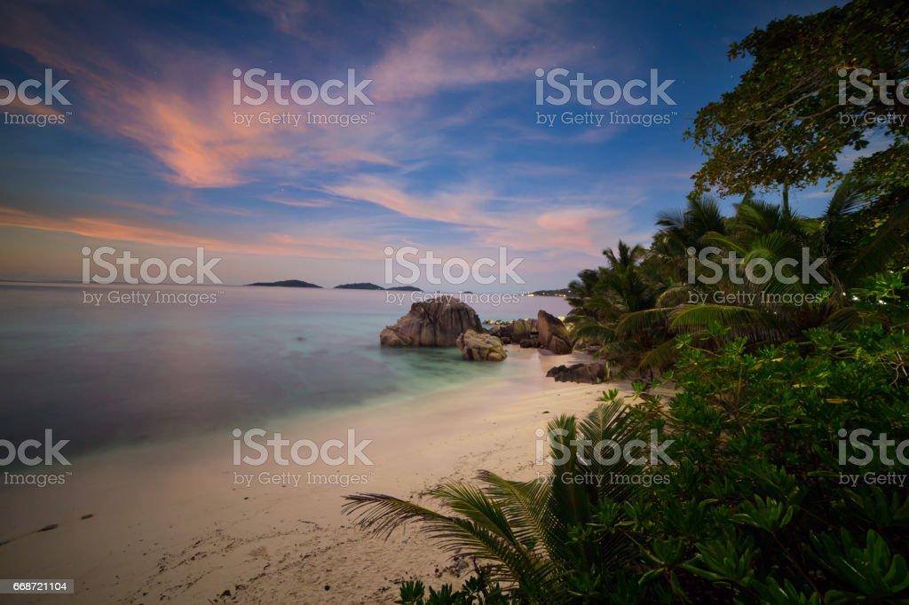 Night in paradise, Seychelles stock photo