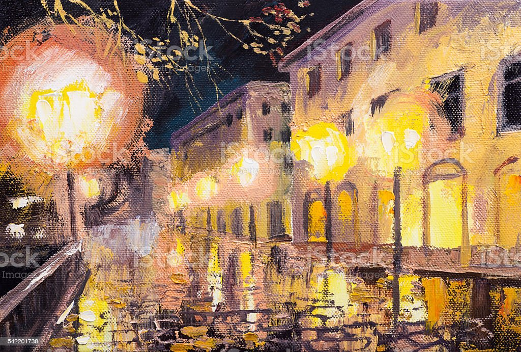 night in paris, street lamp, colorful oil painting stock photo