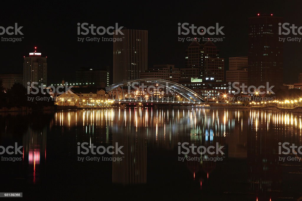 night in Rochester downtown stock photo