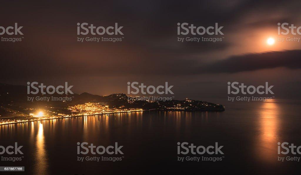 Night in the Bay of La Herradura, Granada. stock photo
